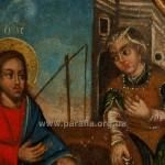 Христос і самарянка. Фрагмент ікони цокольного ряду іконостасу, сер. ХVІІІ ст.