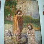Хрещення Господнє. Народна ікона у наві. Тільки-но гляньте на фарисеїв на задньому плані! За дві тисячі років вони анітрохи не змінилися...