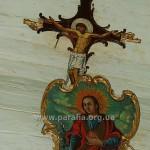 Богородиця (центральна ікона пророчого ряду) і Розп'яття над іконостасом