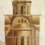 Реконструкція первісного вигляду церкви з дерев'яним, найбільш імовірним верхом (за Ю. Асеєвим)