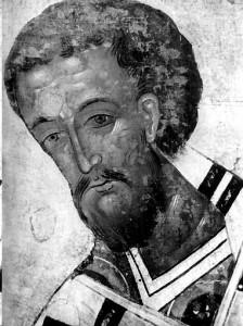 Свт. Іоан Золотоустий. Деісусний чин церкви свт. Миколи з Усох. Перша половина XVI ст. фрагмент