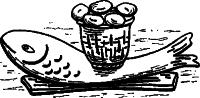 Рисунок 1. Риба з кошиком хліба. XIV ст