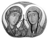 Пресвята Богородиця дає хрест св. Ніні. Дмитро Харчілава, ікона на камені.