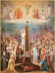 Боже чудо під час будівництва першого храму на місці заховання Хитону Господнього. Сучасна грузинська ікона.